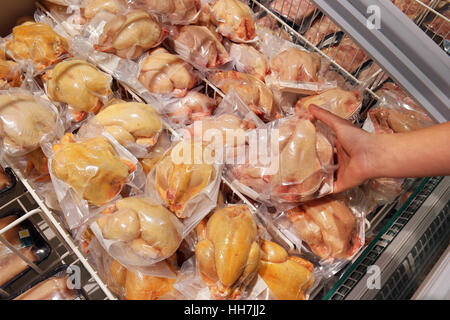 Poultry, deep frozen plucked Quail packings in a supermarket. - Stock Photo