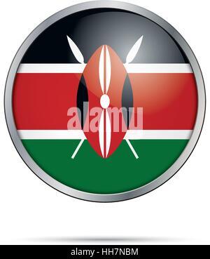 Vector Kenyan flag button. Kenya flag glass button style with metal frame. - Stock Photo