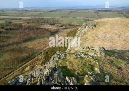 View towards the Firth of Forth from the top of Binny Craig - Stock Photo