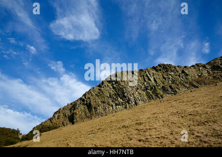 Looking up towards the top of Binny Craig from the west side of the hill - Stock Photo