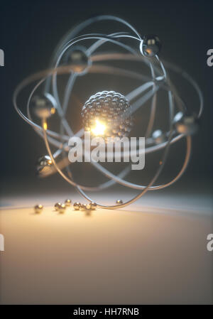 Concept image of a nuclear atomic model with nuclear fusion. - Stock Photo