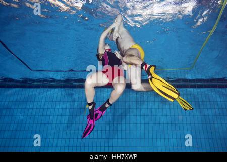 Nikolaev, Ukraine. 15th Jan, 2017. Aquathlon (underwater wrestling) Swimming pool, Nikolaev, Ukraine, Eastern Europe - Stock Photo
