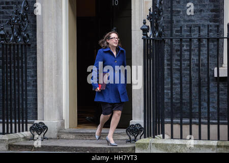 London, UK. 17th Jan, 2017. Baroness Evans of Bowes Park, Leader of the House of Lords and Lord Privy Seal, leaves - Stock Photo