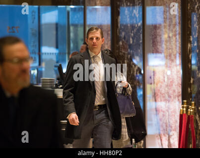 New York, USA. 17th Jan, 2017. Eric Trump arrives to Trump Tower on January 17, 2017 in New York City. U.S. President - Stock Photo