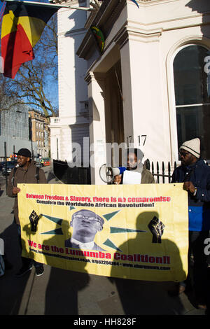 London, UK. 17th Jan, 2017. Members of the Uhuru movement out side the Beligum embassy in London on the 56th Anniversary - Stock Photo