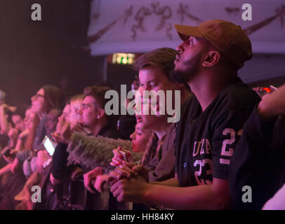 London, UK. 17th January, 2017. Fans in front of the stage during the Sremm Life II Tour at O2 Shepherds Bush Empire - Stock Photo