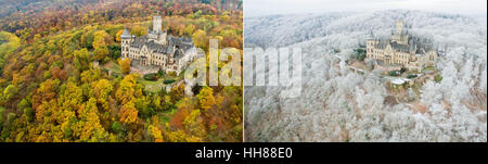 COMBO - A picture combo shows two aerial photos taken with a drone of Marienburg Castle near Pettensen, Germany - Stock Photo