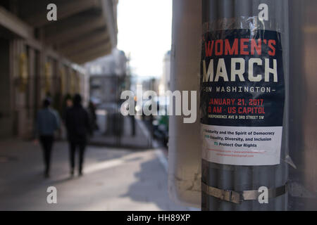 Washington DC, USA. 18th January 2017. A poster advertising the Women's March on Washington, to be held the day - Stock Photo
