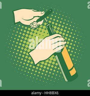Opener bottles, hand holds corkscrew. Pop art retro style - Stock Photo