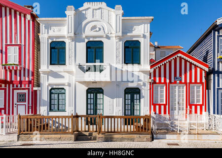 Colorful houses in Costa Nova, Aveiro, Portugal - Stock Photo