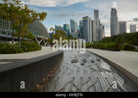 Singapore Skyline Viewed From The Esplanade – Theatres on the Bay. - Stock Photo