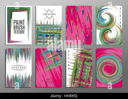 Hand drawn collection of artistic invitations made by acrylic homemade texture with trendy geometric icons and logotypes. - Stock Photo