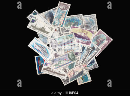 Old soviet military theme stamps - Stock Photo