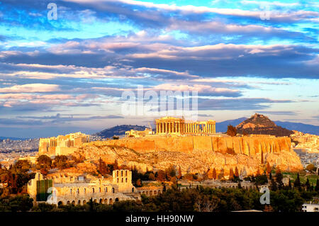 View of the Acropolis of Athens, Athens, Greece - Stock Photo