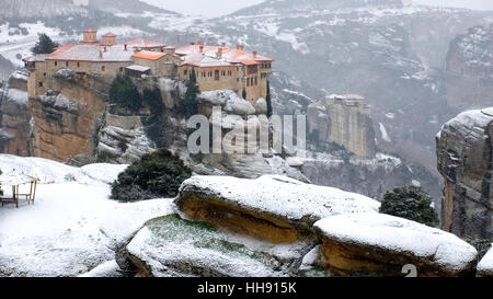The holy monasteries of Varlaam and Rousanou, Meteora, Kalabaka, Greece - Stock Photo