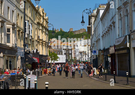 Hastings Town Centre, East Sussex, on the South coast of England, from Robertson Street, in summertime - Stock Photo