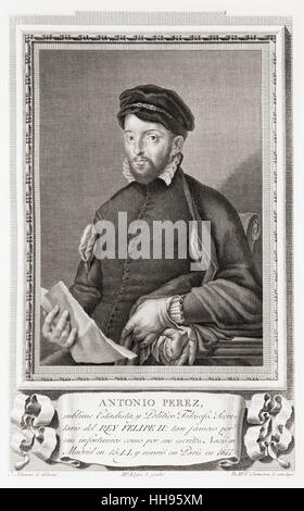 Antonio Pérez, 1540–1611.  Spanish statesman, secretary of king Philip II of Spain.  After an etching in Retratos - Stock Photo