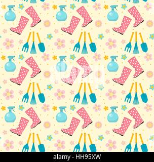 Seamless Pattern; Gardening Seamless Pattern With Garden Tools. Spring  Endless Backdrop. Horticulture Texture, Wallpaper.