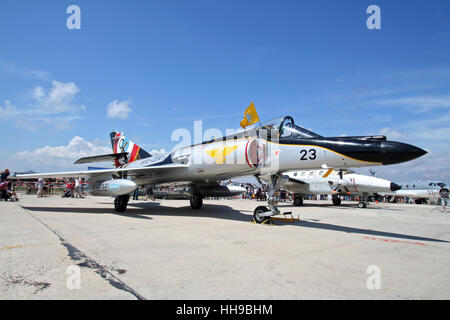 French Navy Dassault Super Etendard fighter jet on static display at the 100-years-Aeronavale airshow on Hyeres - Stock Photo