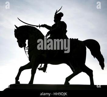 travel, monument, art, stone, horse, statue, contrast, sculpture, black, - Stock Photo