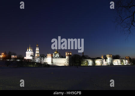 Night view at Novodevichy Monastery in Moscow. Russia. - Stock Photo