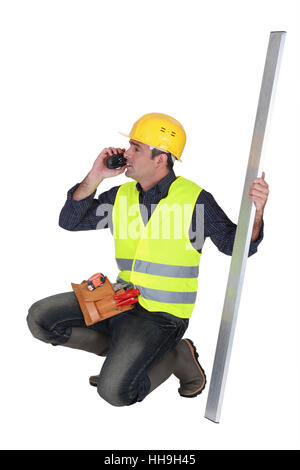 beam, blank, european, caucasian, arrange, belt, builder, arranging, - Stock Photo
