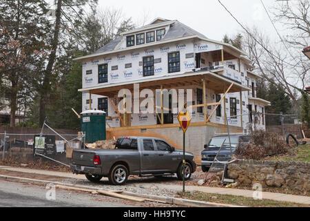 Large detached single-family house under construction - Washington, DC USA - Stock Photo