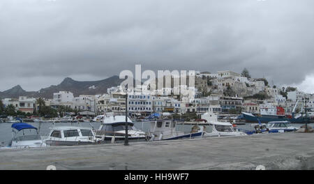 cloudy scenery at Naxos, a city and island of the Cyclades in the Aegean - Stock Photo
