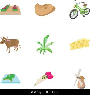 Holiday in Holland icons set, cartoon style - Stock Photo
