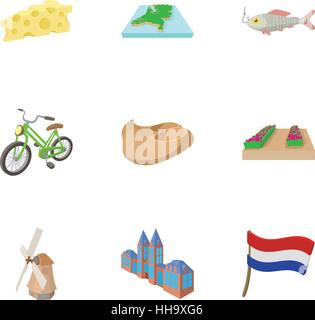 Attractions of Holland icons set, cartoon style - Stock Photo