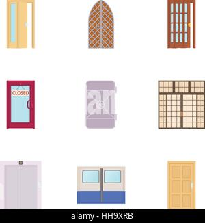 Security door icons set, cartoon style - Stock Photo