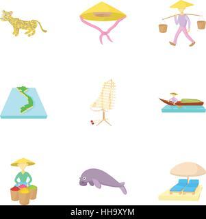 Tourism in Vietnam icons set, cartoon style - Stock Photo