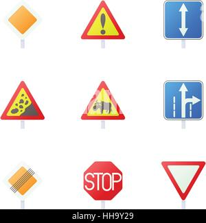 Road sign icons set, cartoon style - Stock Photo