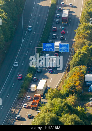 Highway intersection, A43 and A2, A43 congestion between Recklinghausen and Bochum, Recklinghausen, Ruhr area, - Stock Photo