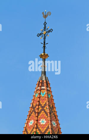 Rooster and Cross on top of Church - Stock Photo