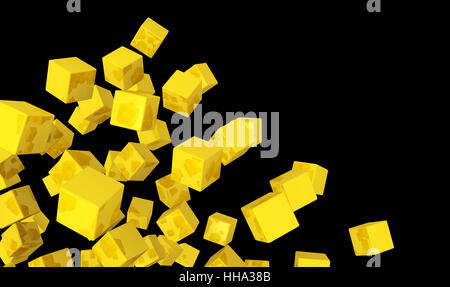 banner - flying dice gold yellow on black 2 - Stock Photo