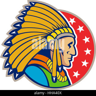 graphics, male, masculine, illustration, native, leader, captain, chieftain, - Stock Photo