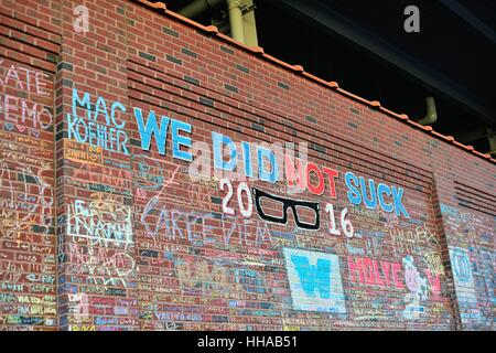 During the 2016 post season thousands made a pilgrim-like journey to Wrigley Field to leave messages written in - Stock Photo