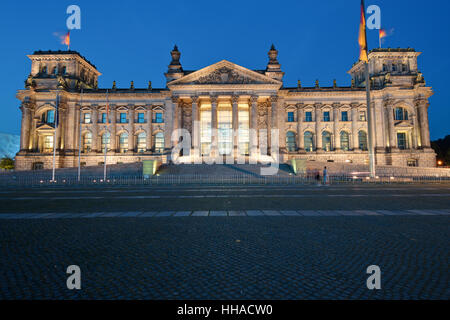the reichstag after sunset - Stock Photo