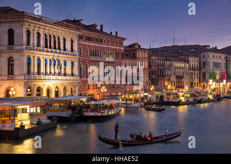 Colorful evening over the Grand Canal and city of Venice, Veneto, Italy - Stock Photo