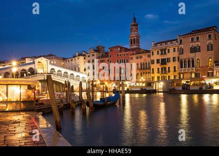 Twilight over the Realto Bridge and the Grand Canal, Venice, Veneto, Italy - Stock Photo