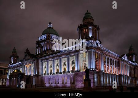 Belfast City Hall, floodlit. - Stock Photo