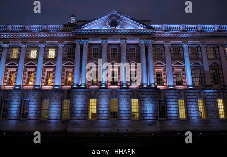 Floodlit West side of Belfast City Hall - Stock Photo