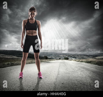 Athletic woman runner - Stock Photo