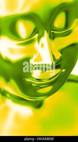 abstract buddha head green yellow