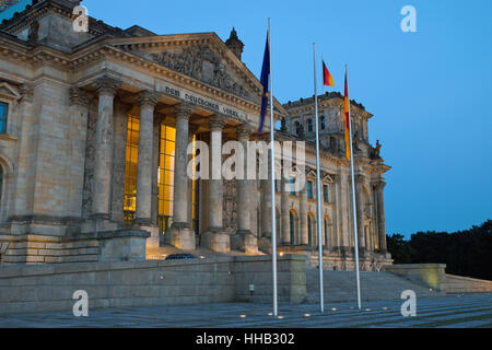 lighted, entrance, berlin, germany, german federal republic, parliament, flag, - Stock Photo