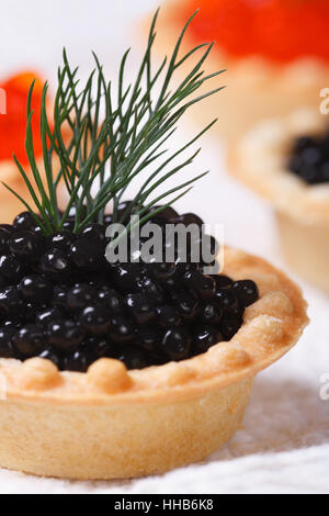 Canapes with black sturgeon fish caviar on a plate. macro. vertical - Stock Photo