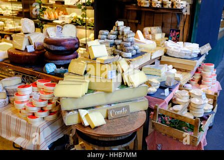 selection of cheeses on borough market, london, england - Stock Photo