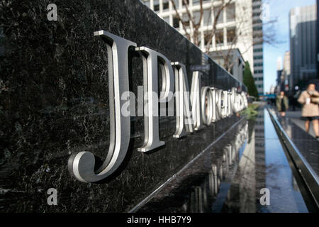 Corporate lettering at the JP Morgan Chase office building on Park Avenue. - Stock Photo