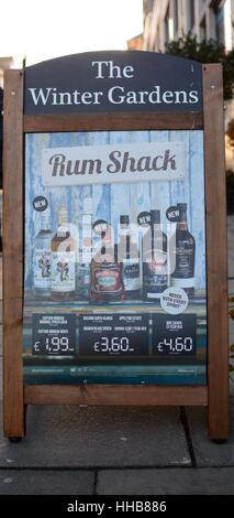 Weatherspoon Pub Rum Shack marketing board - Stock Photo